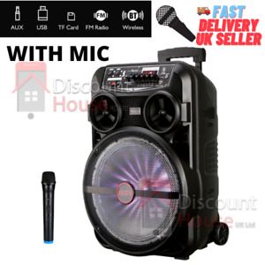 Wireless Bluetooth Stereo Bass Trolley Speaker 12 Inch with Mic FM Radio Lights