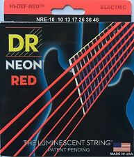 DR Handmade NRE-10 Neon Red Electric Guitar Strings 10-46 med gauge