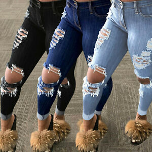 Ladies Summer Casual Fashion Stretch Tight Jeans Popular Ripped Fringed Trousers
