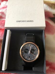 uniform wares C41 SRG 01 chronograph watch in PVD rose gold with Black Strap