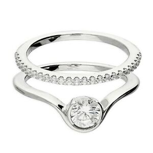 Sterling Silver 925 Diamond Bridal Set Ring (2 piece) - ALL SIZES AVAILABLE