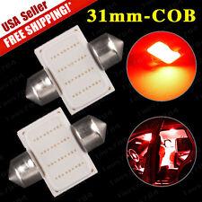 2X NEW Super Red COB 12-LED Map/Dome Interior Light Bulb 31MM Festoon DE3175