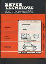 (44B)REVUE TECHNIQUE AUTOMOBILE HONDA N 360 - N 600 - N 600 GT