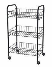 Küchenwagen 3 Ablagen - schwarz - Metall Küchentrolley Rollwagen Haushaltswagen