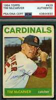 Tim McCarver Psa Dna Coa Autograph 1964 Topps Authentic Hand Signed