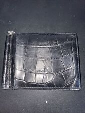 ASPINAL OF LONDON Calf Croc Money-Clip Billfold Embossed Wallet