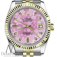 Pink Floral MOP Rolex 26mm Datejust Two-Tone with 8+2 Diamond Numbers 18K / SS