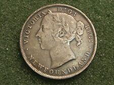 1896 Newfoundland Canada Silver 20 Cents Queen Victoria VF+