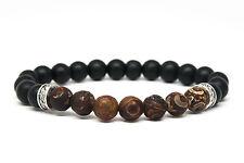 Matt Black Onyx and Agate Stone Beaded Mens Bracelet Handmade