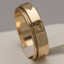 Gold Plated Heart Spinner Mens Wedding Ring Womens Band (Sizes J to U) NEW