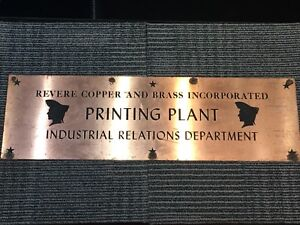 Revere Copper & Brass Inc Copper Sign Printing Plant Industrial Relations Dept