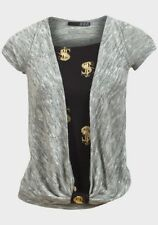 Ladies Size 12 Grey Black T Shirt Top New Free Post Dollar Design Mock Wrap