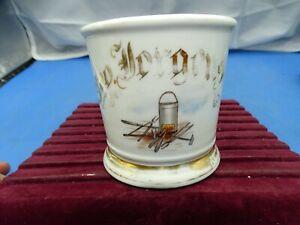 Vintage Ceramic Shaving Mug Blacksmith Tools & Forge Deckelman Bro Baber Supplie