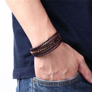 Mens Genuine Leather Bracelet Braided Tiger Eye Stones Multilayer Handmade Wrap