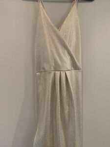 CHARLOTTE RUSSE White And Gold Maxi Cocktail Dress Size XL Size 16