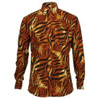 Mens Shirt Loud REGULAR FIT Tiger Stripe Orange Psychedelic Long Sleeve Jungle