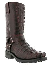 Mens Motorcycle Boots Alligator Tail Print Leather Harness Square Black Cherry