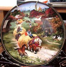 1990 Baltic Czech Republic Russian Plate w COA European Draft Horses Wagon Mint