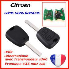 CLE VIERGE + TRANSPONDEUR ID46 VIERGE  CITROEN C2 C3 1 Phase 1 Avant 2005 Testé