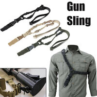Adjustable Tactical One Single Point Sling Strap Bungee Rifle Sling + QD