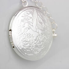 925 Sterling Silver Round Bird Lotus Flower Photo Locket Pendant Necklace Girl