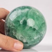 635g 73mm Large Natural Green Fluorite Quartz Crystal Sphere Healing Ball Chakra