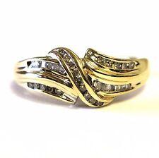10k yellow gold .25ct SI2 K diamond baguette cluster ring 3.1g vintage estate 7