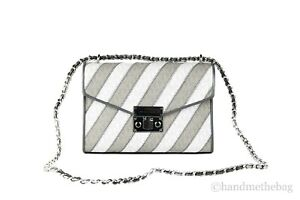 Michael Kors Rose Striped Signature PVC Medium Flap Chain Shoulder Hand Bag