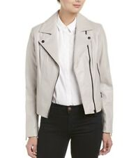 $590 Soia & Kyo Megane Moto Genuine Leather Jacket In Stone . Size M.
