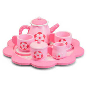 Wooden Pink Flowery Tea Set - Wooden Toy - Role Play Toy -  New