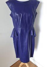 M&S Autógrafo 100% Cuero Púrpura Peplum vestido Talla 14 BNWT