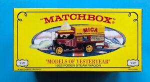 Matchbox Models Of Yesteryear YY027/SB 1922 Foden Steam Wagon  MICA  Ltd.Ed. NEW