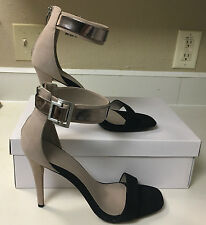 NIB Calvin Klein SABLE  Leather & Suede Ankle Strap Heeled Sandal Sand Size 10