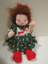 """Vintage 1960's pink skin 16.5"""" hard stuffed cloth doll - auburn yarn hair Ec"""