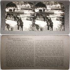 Keystone Stereoview Jardin de la Fontaine, Nimes, FRANCE From RARE 1200 Card Set