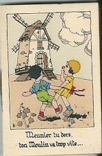 Mini calendrier almanach 1932 Illustrateur Scène enfantine Moulin comptine blé