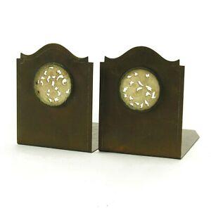 Potter Studio Potter Mellon Arts & Crafts brass bookends pierced stone medallion