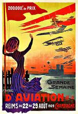 Art Ad Grande Semaine d'Aviation Airplane Plane Aeroplane Poster Print