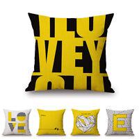 Throw Pillow Case Mustard Yellow Cotton Linen Cushion Cover Decorative 45*45cm
