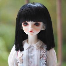 "BJD Doll Hair Wig 8-9""1/3 SD DZ DOD LUT short straight bob neat bang wig Black"
