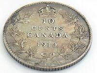 1910 Canada Ten 10 Cents Silver Dime Canadian Circulated Edward VII Coin J962