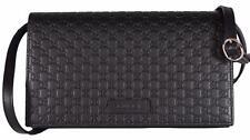 NEW Gucci 466507 Black Leather Micro GG Guccissima Crossbody Wallet Bag Purse