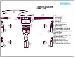 DASH TRIM AUTO KIT 21PCS FITS CHRYSLER SEBRING DODGE STRATUS 2001-2007 WOOD CAR
