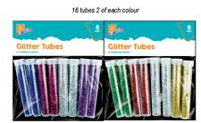 16 Glitter Tubes Kids Children's Multi Colour Craft Glitter Arts & Crafts
