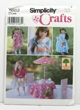 Simplicity 0663 Sewing Pattern 18'' Doll Clothes Dress Jacket Uncut