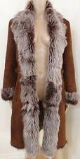 $3K Cole Haan Cognac Italy Toscana Lamb Sheepskin Shearling Mouton Fur Long Coat