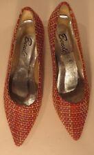 Vintage 1980s fab Italian wool boucle kitten heels in orange & pink, size 3