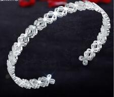 Gorgeous Flower Sterling silver Solid 925 Bracelet Love Heart MOM GIFT HER-BL17R