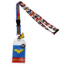 DC Comics Wonder Woman Logo Character Lanyard Sticker ID Badge Holder PVC Charm