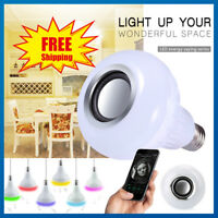 12W E27 RGB LED Light Bulb Wireless Bluetooth Audio Speaker Music Playing Remote